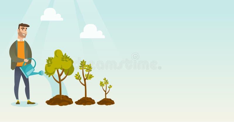 Ejemplo de riego del vector de los árboles de la mujer de negocios libre illustration
