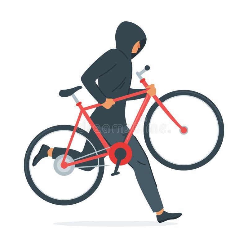 Ejemplo de robo criminal del vector de la bicicleta ilustración del vector