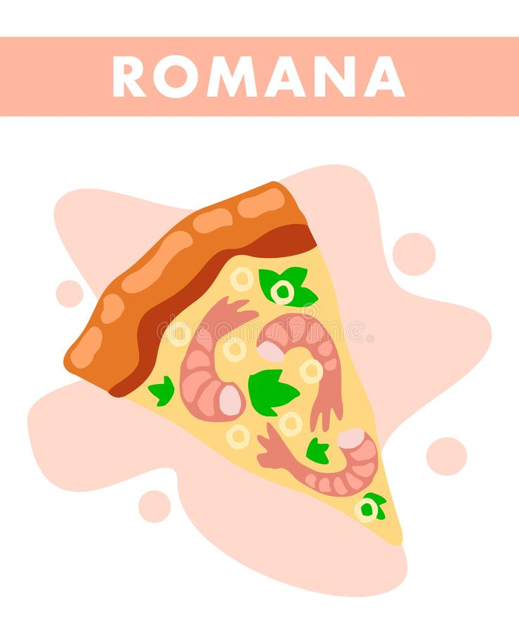 Ejemplo de Romana Pizza Slice Closeup Cartoon libre illustration