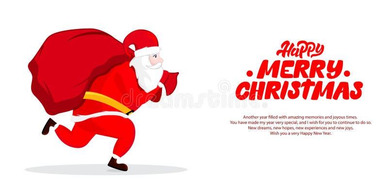 Ejemplo de Santa Claus con el actual bolso grande Postal de la Navidad con deseos Dise?o del ejemplo del vector stock de ilustración