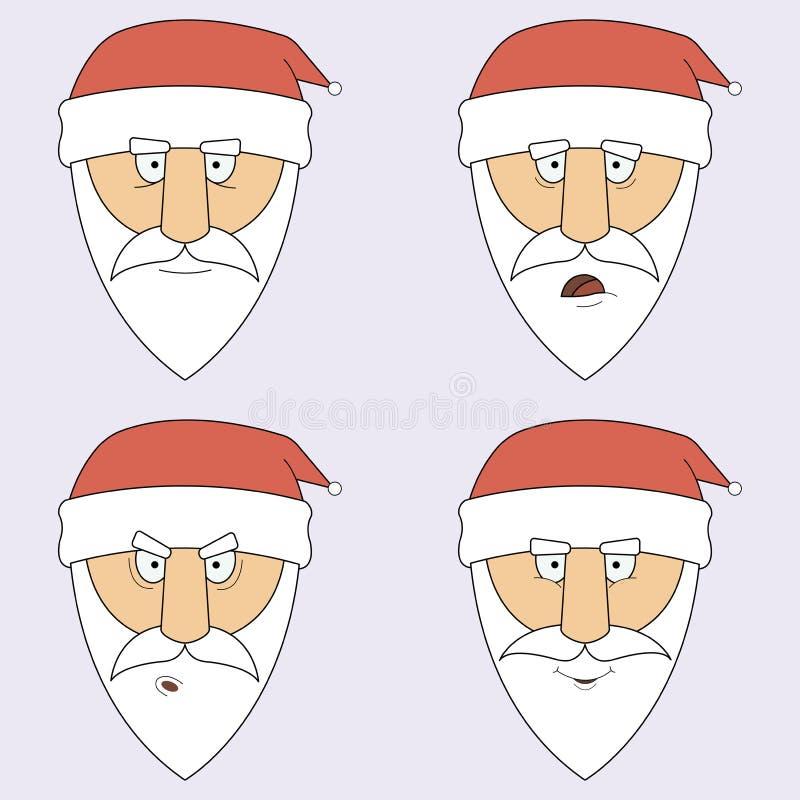 Ejemplo de Santa Claus en diversas emociones stock de ilustración