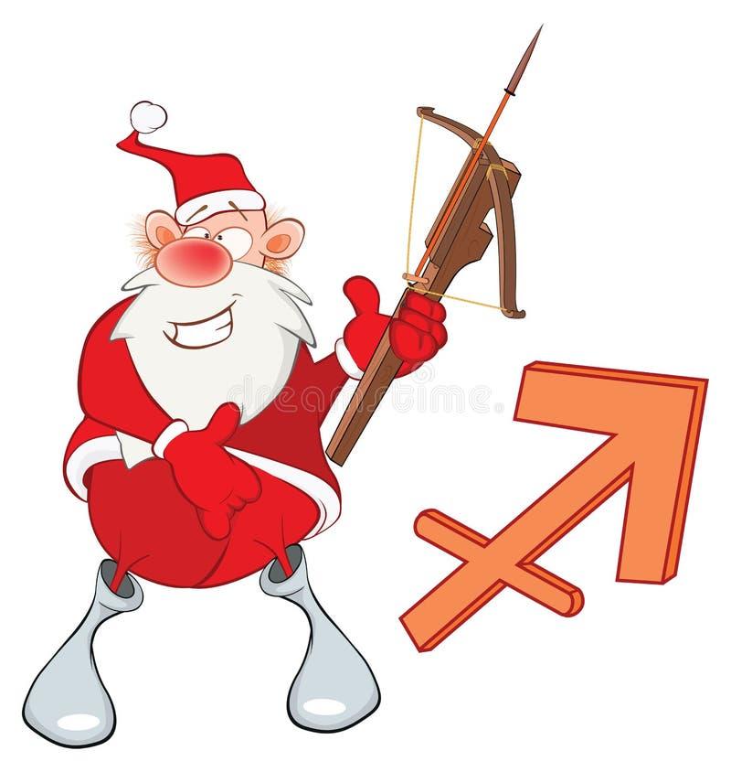 Ejemplo de Santa Claus linda Astrológico firme adentro el zodiaco Archer, sagitario Personaje de dibujos animados ilustración del vector