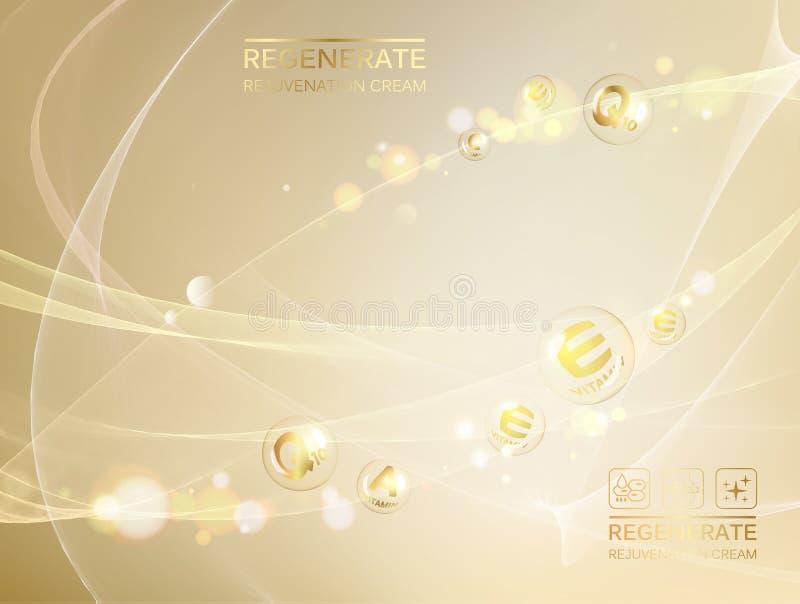 Ejemplo de Scince de una molécula de la DNA Concepto crema de cara y del complejo regenerados de la vitamina Cuidado orgánico del libre illustration