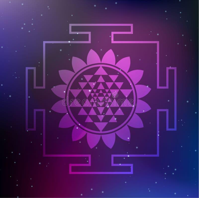 Ejemplo de Sri Yantra del vector con Lotus Flower en un fondo cósmico ilustración del vector