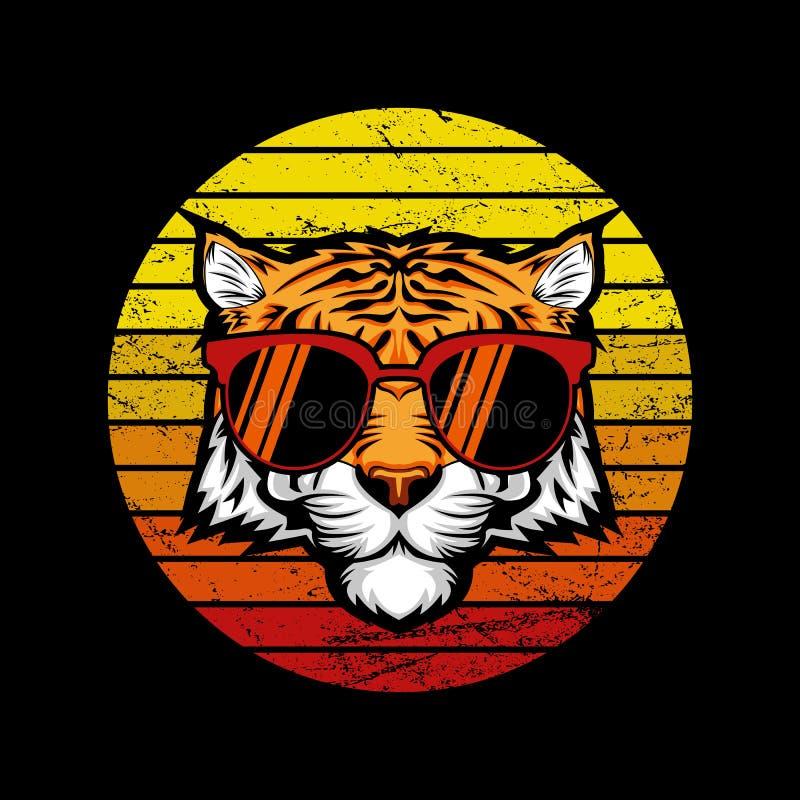 Ejemplo de Tiger Retro Sunset Vector stock de ilustración