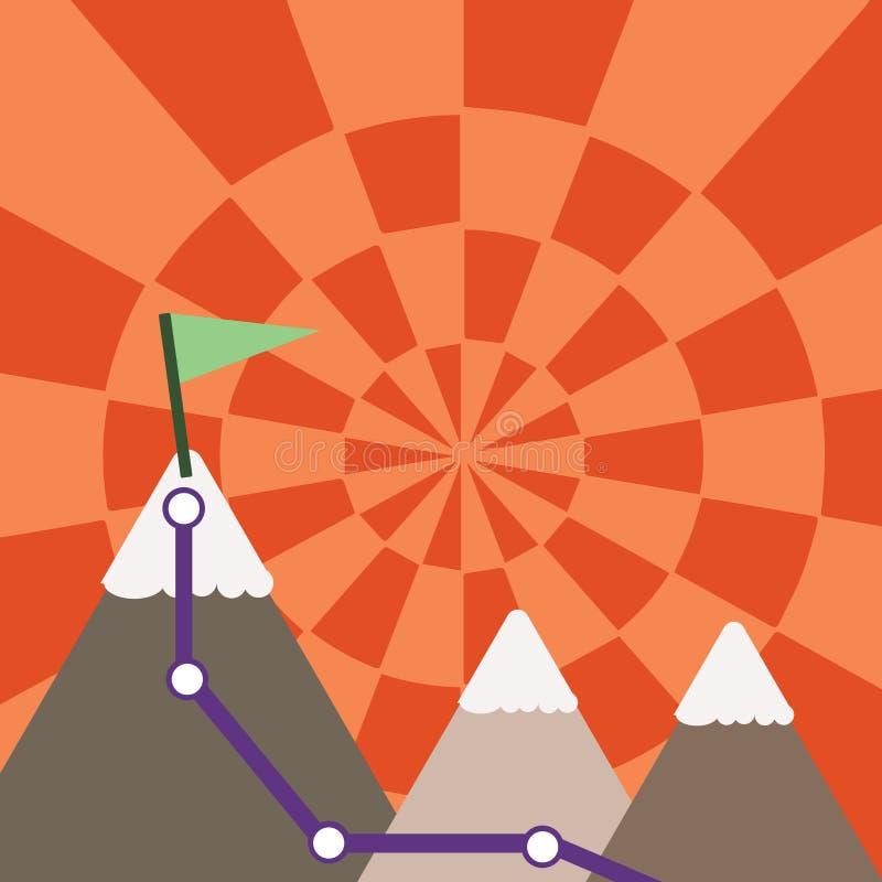 Ejemplo de tres montañas coloridas con el rastro y del top blanco Nevado con la bandera en un pico Fondo creativo ilustración del vector