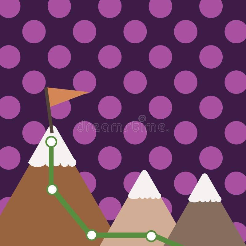 Ejemplo de tres montañas coloridas con el rastro y del top blanco Nevado con la bandera en un pico Fondo creativo stock de ilustración