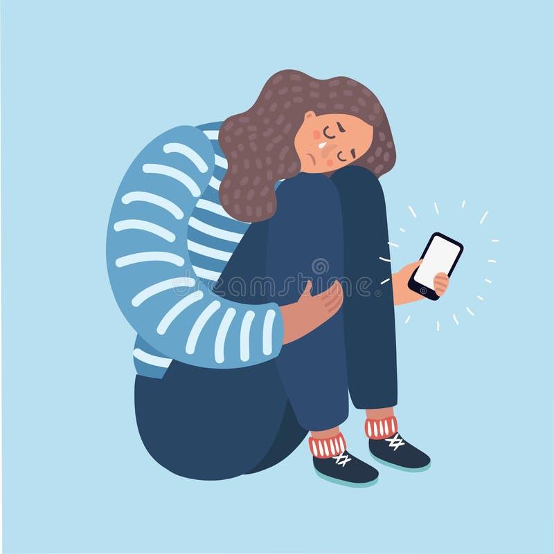 Ejemplo de un adolescente que llora sobre lo que ella vio en su teléfono stock de ilustración