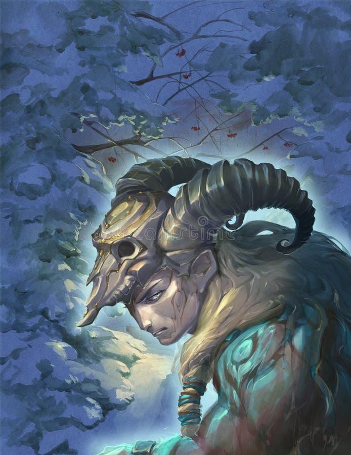 Ejemplo de un aries de la muestra de la astrología como hombre hermoso con los cuernos de oro libre illustration