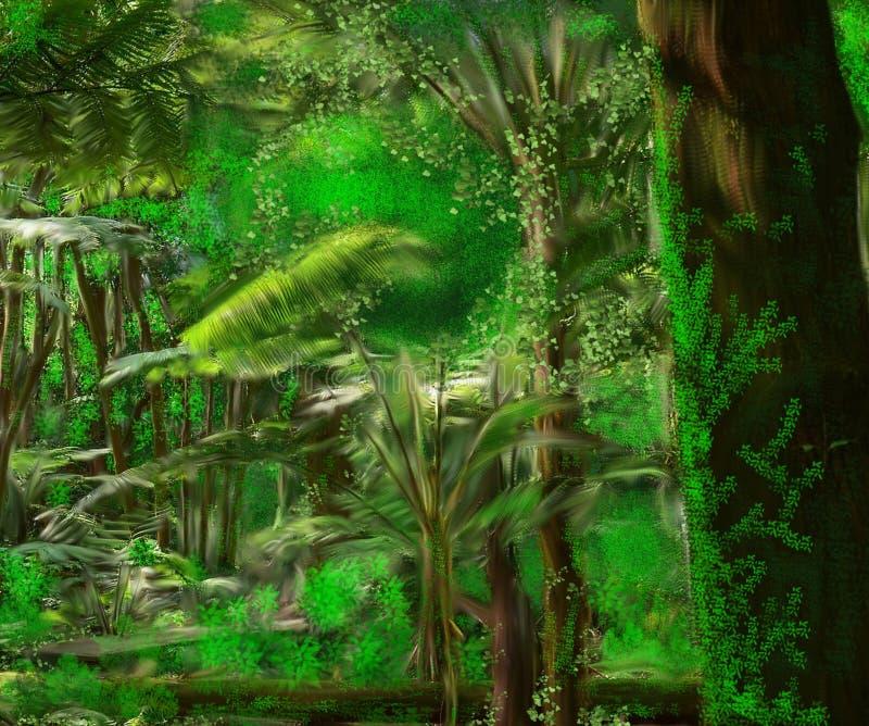 Ejemplo de un bosque tropical hermoso stock de ilustración