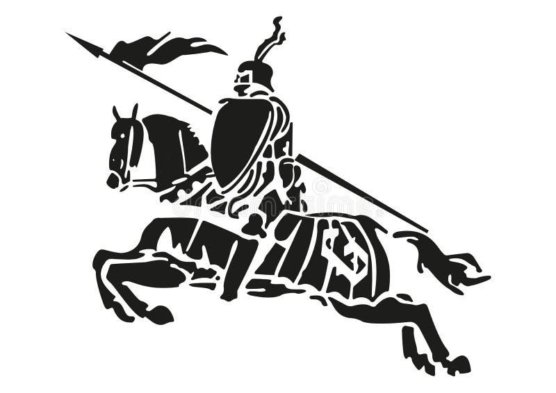 Ejemplo de un caballero medieval con la armadura en un caballo stock de ilustración
