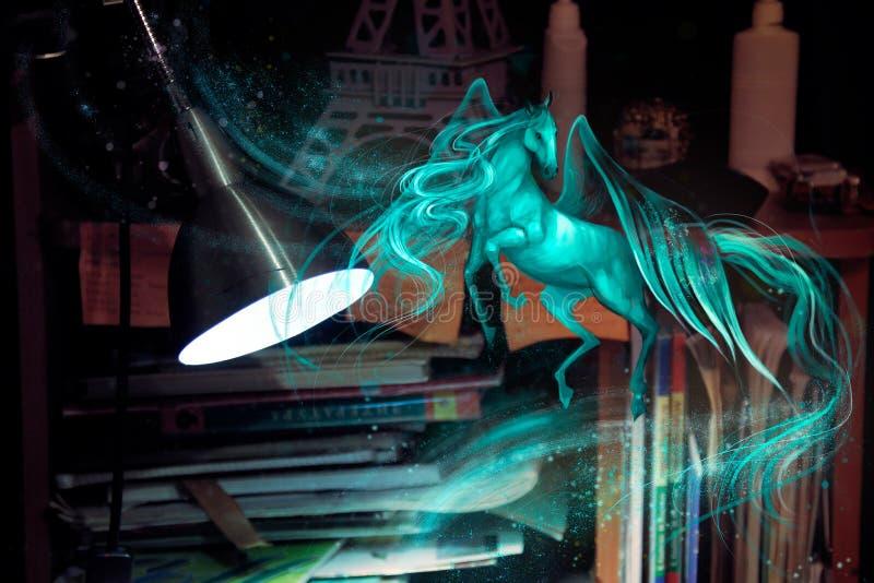 Ejemplo de un caballo con las alas ilustración del vector