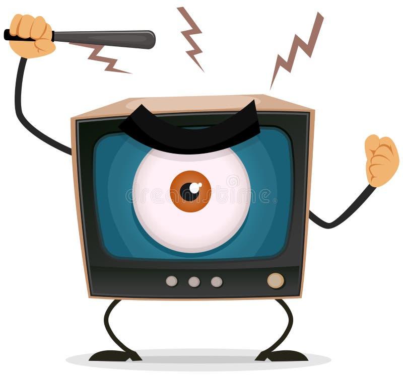 Censura, terror y lavado de cerebro en la TV ilustración del vector
