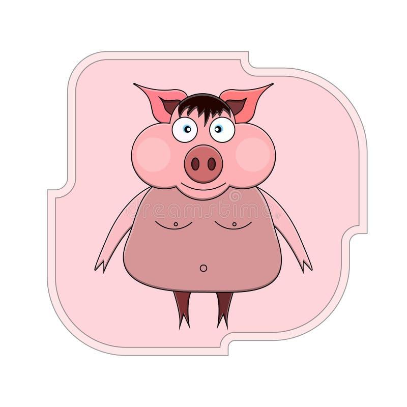 Ejemplo de un cerdo de la historieta en sus piernas traseras con explosiones, ojos azules y pechos y ombligo desnudos contra la p stock de ilustración