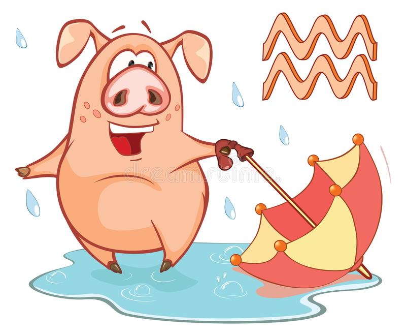 Ejemplo de un cerdo lindo Astrológico firme adentro al acuario del zodiaco Personaje de dibujos animados stock de ilustración