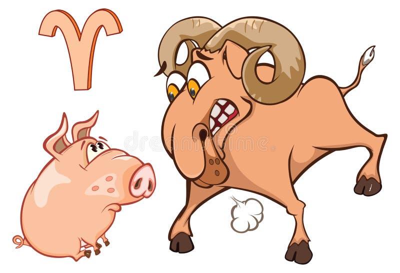 Ejemplo de un cerdo lindo Ejemplo de un cerdo lindo Astrológico firme adentro al aries del zodiaco Personaje de dibujos animados ilustración del vector