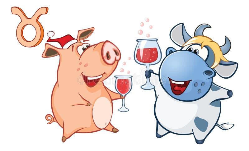 Ejemplo de un cerdo lindo Astrológico firme adentro al tauro Personaje de dibujos animados ilustración del vector