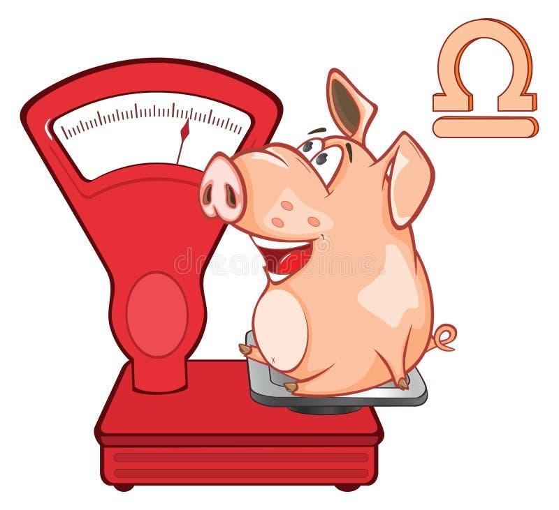 Ejemplo de un cerdo lindo Astrológico firme adentro el personaje de dibujos animados del zodiaco libre illustration