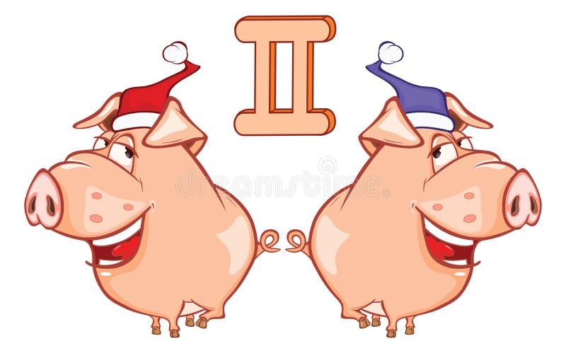 Ejemplo de un cerdo lindo Astrológico firme adentro a los géminis del zodiaco Personaje de dibujos animados stock de ilustración