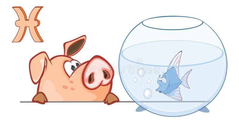 Ejemplo de un cerdo lindo Astrológico firme adentro los pescados Piscis del zodiaco Personaje de dibujos animados ilustración del vector