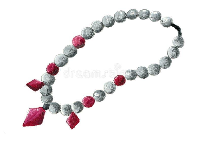 Ejemplo de un collar de la piedra de gema stock de ilustración