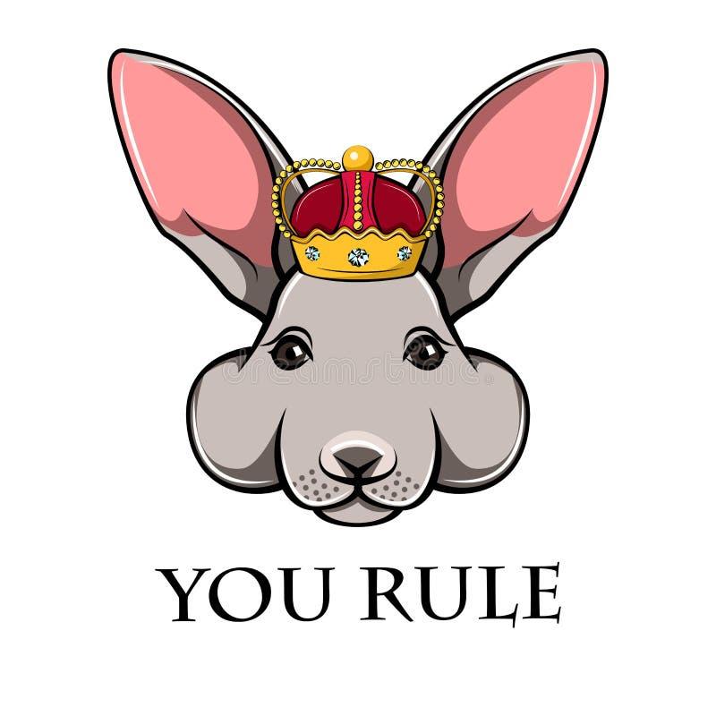 Ejemplo de un conejito lindo, conejo en corona Ejemplo dibujado mano del vector del conejito libre illustration