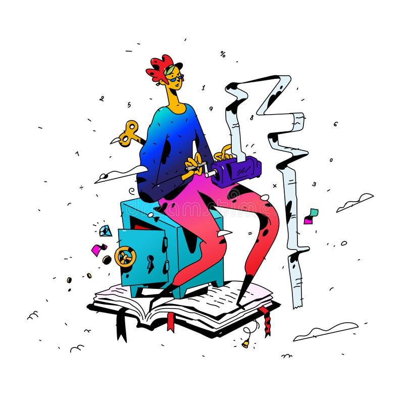 Ejemplo de un contable en el trabajo Vector Estilo plano de la historieta El contable de la muchacha guarda cuentas La empresaria libre illustration