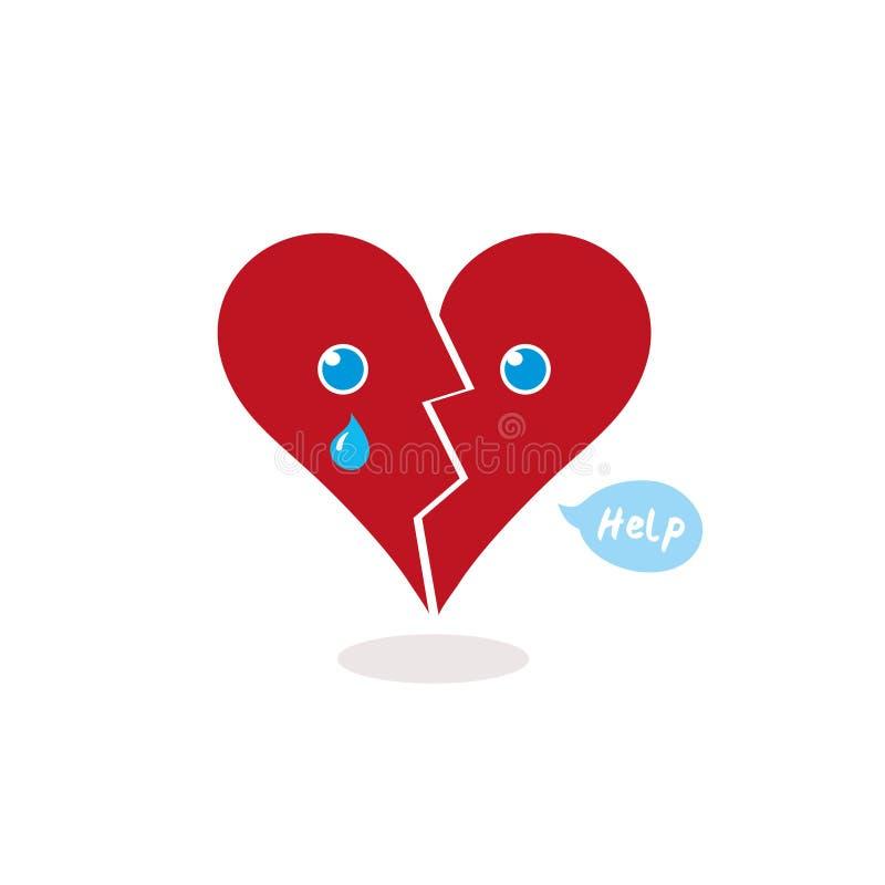 Ejemplo de un corazón quebrado de la historieta que llora para stock de ilustración