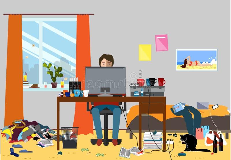 Ejemplo de un cuarto desorganizado dejado en desorden con los pedazos de basura Sitio donde jóvenes I T Vidas del individuo, de B libre illustration