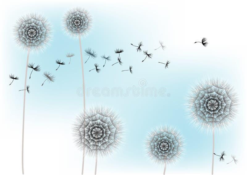 Ejemplo de un diente de león de la flor y de semillas que vuelan en un fondo azul ilustración del vector