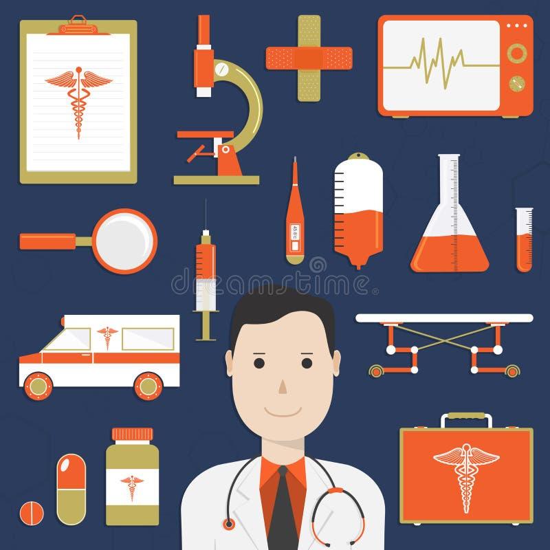 Ejemplo de un doctor con los diversos elementos médicos libre illustration