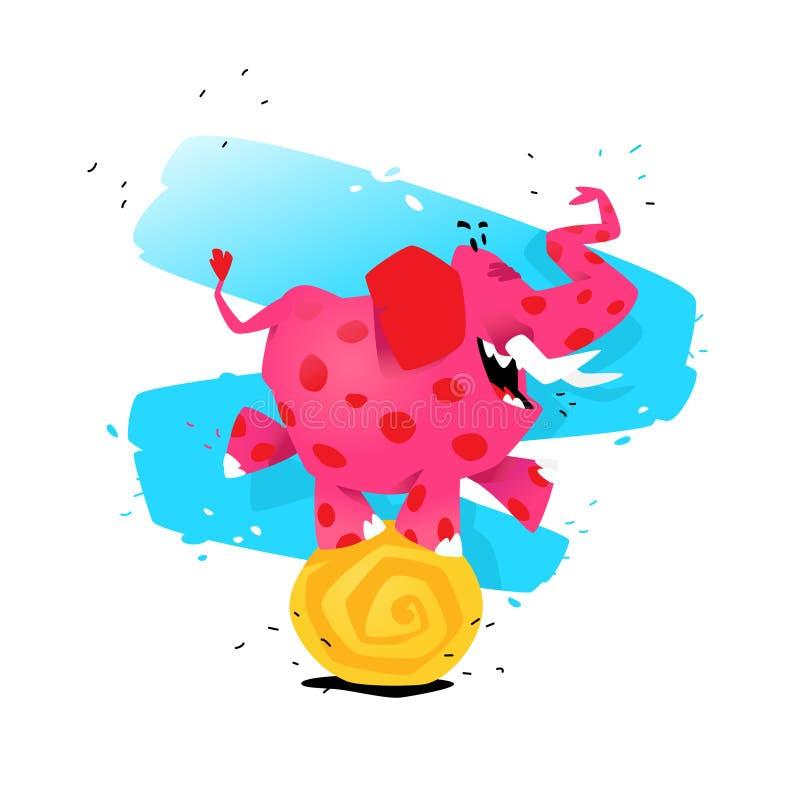 Ejemplo de un elefante rosado de la historieta en una bola Ilustración del vector La imagen se aísla en el fondo blanco Ejemplo p stock de ilustración