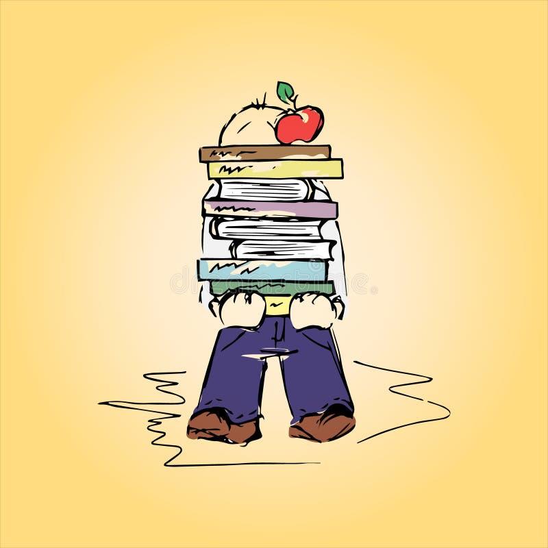 Ejemplo de un estudiante con los libros, mano-dibujo libre illustration