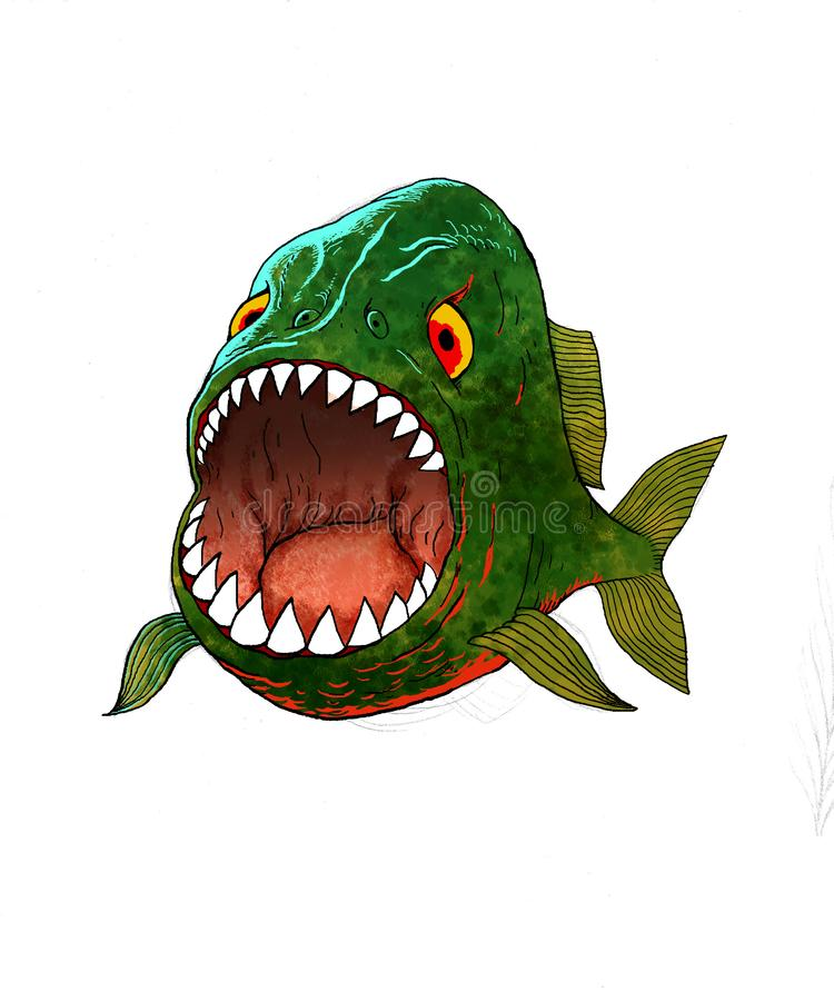 Ejemplo de un frente de la piraña con muchos detalles y boca abierta stock de ilustración