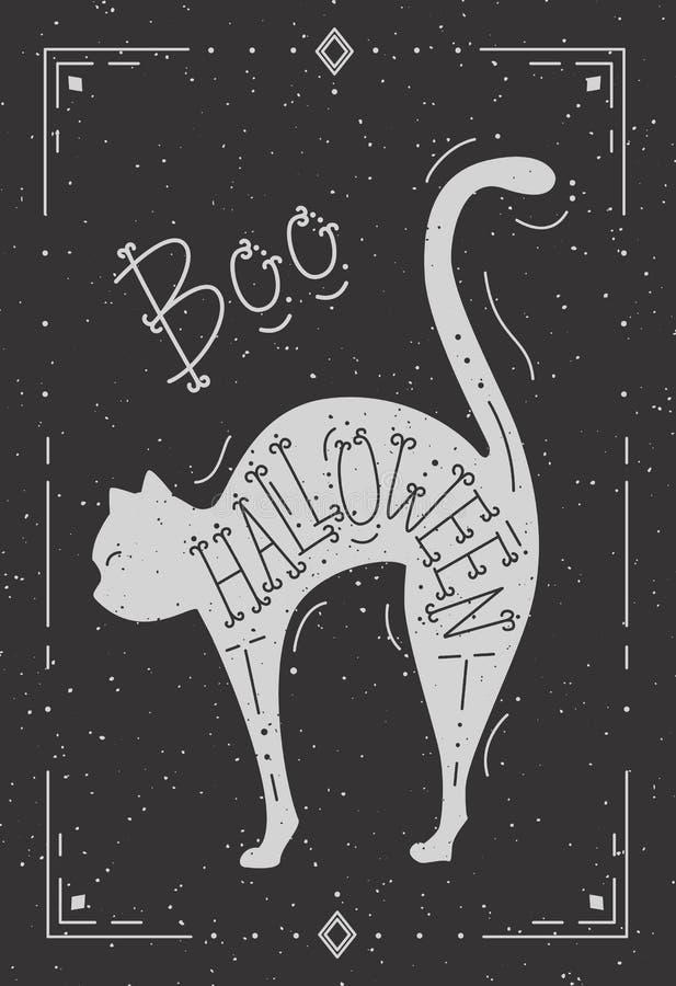 Ejemplo de un gato con la palabra Halloween stock de ilustración