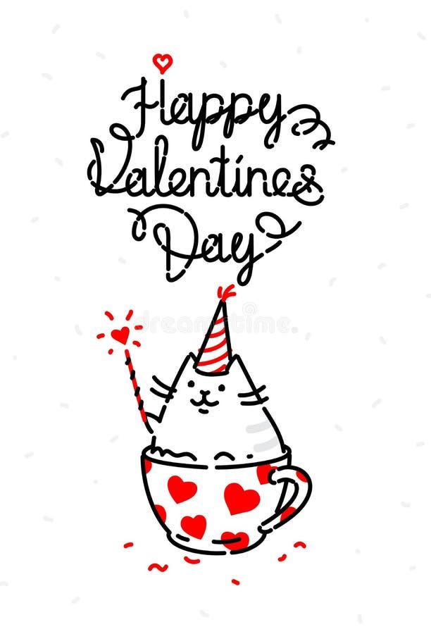 Ejemplo de un gato en un día de fiesta de día de San Valentín La imagen se aísla en un fondo blanco para imprimir, bandera, págin stock de ilustración