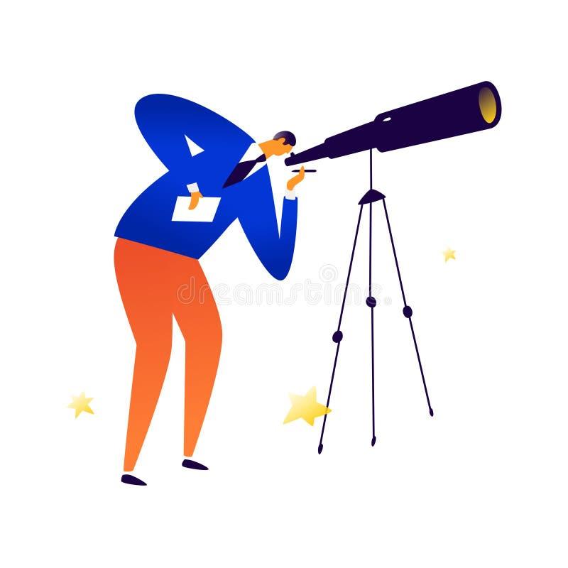 Ejemplo de un hombre con un telescopio Vector El astrónomo examina las estrellas Búsqueda para la gente Encargado del reclutamien stock de ilustración