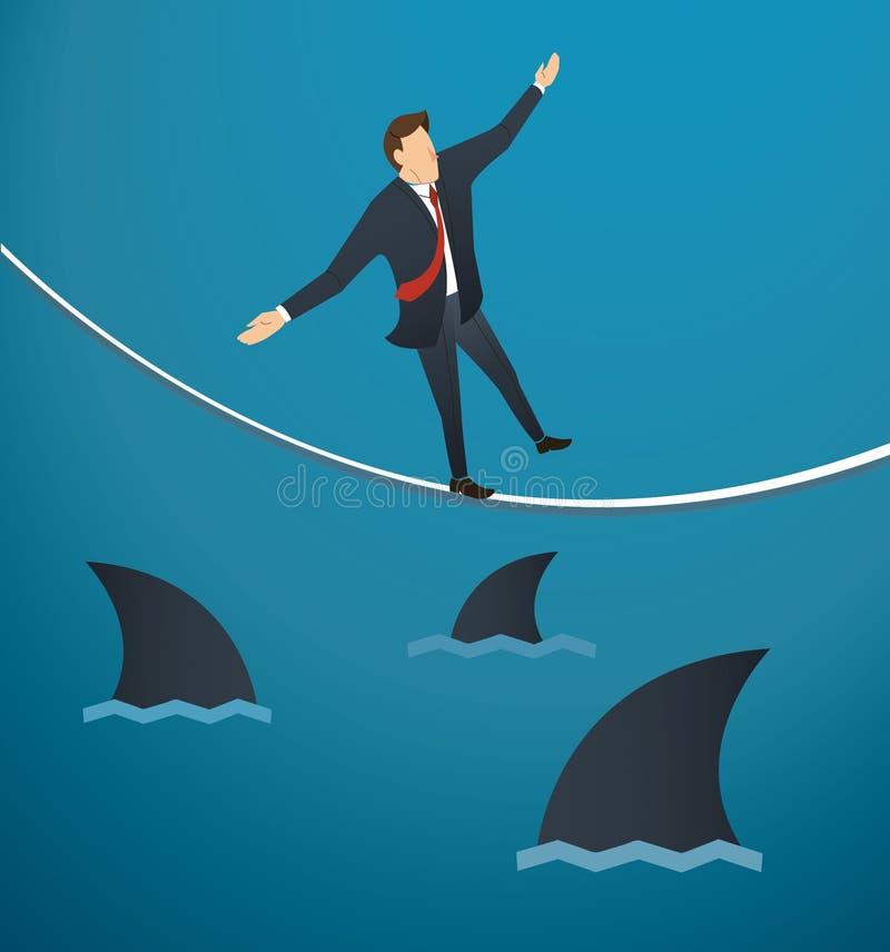 Ejemplo de un hombre de negocios que camina en cuerda con los tiburones por debajo la ocasión del riesgo de negocio libre illustration