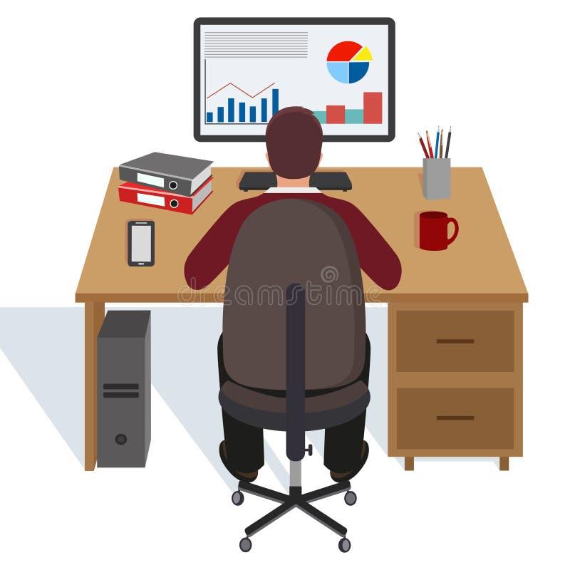 Ejemplo de un hombre en la tabla con un ordenador en un fondo blanco libre illustration
