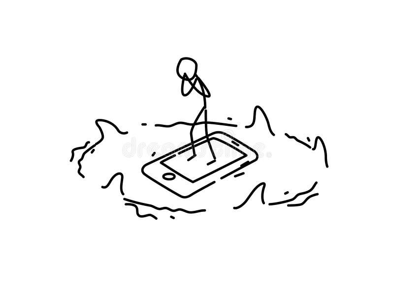 Ejemplo de un hombre en un smartphone rodeado por los tiburones Vector Peligro y dependencia del artilugio metáfora estilo linear stock de ilustración