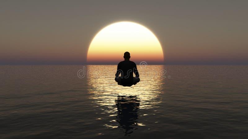Ejemplo de un hombre joven que se sienta en la meditaci?n profunda Meditación de la yoga del hombre en el océano en la puesta del stock de ilustración