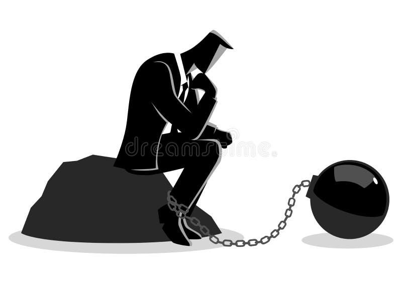 Ejemplo de un hombre de negocios encadenado ilustración del vector