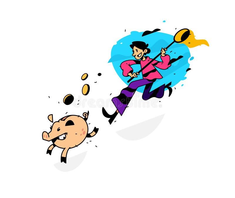 Ejemplo de un hombre que corre después de una hucha con una red Ilustración del vector La imagen se aísla en el fondo blanco gana stock de ilustración
