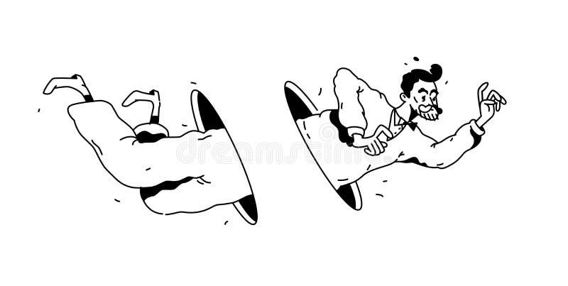 Ejemplo de un hombre que vuela a través de un agujero o de un portal Vector Dibujo blanco y negro linear Pasos del hombre de nego libre illustration