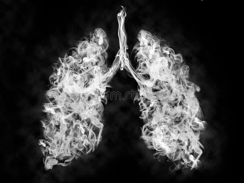 Ejemplo de un humo tóxico en pulmón concepto del cáncer de pulmón fotos de archivo