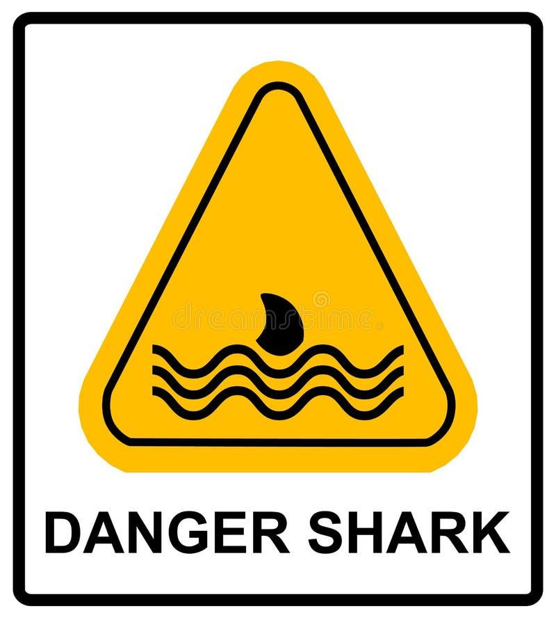 Ejemplo de un icono de la eñal de peligro con una aleta del tiburón ilustración del vector