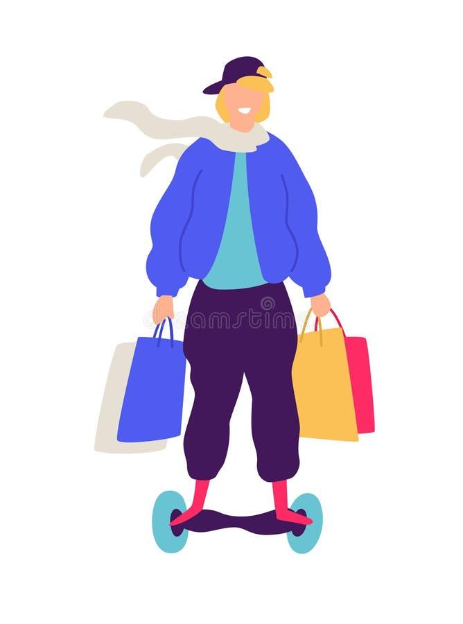 Ejemplo de un individuo en una vespa con las compras Vector Ejemplo plano positivo en estilo de la historieta Descuentos y ventas stock de ilustración
