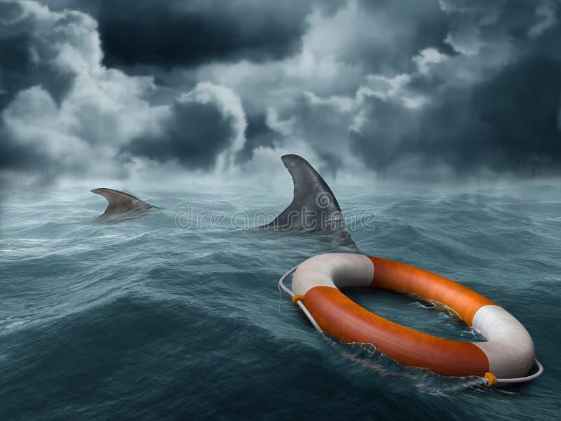 Perdido en el mar libre illustration