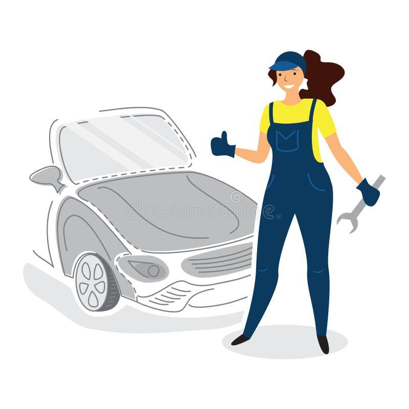 Ejemplo de un mecánico de sexo femenino del mecánico de automóviles en estilo plano con el pulgar para arriba stock de ilustración