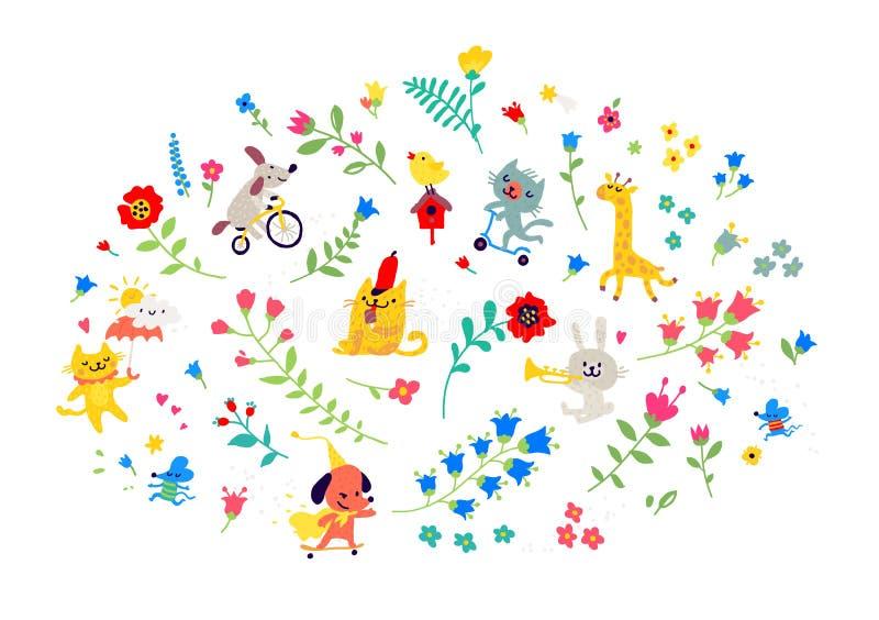 Ejemplo de un modelo de flores y de animales divertidos Vector Estilo de la historieta Elementos florales para las tarjetas o los stock de ilustración